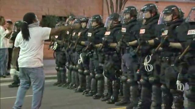 Protesters clashed with police in Charlotte following the fatal shooting of a man by officers in September 2016.
