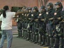 Man confronts officers at Charlotte protest