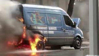 RAW: Fire consumes NYC cars