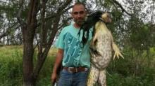 IMAGE: Texas man catches 13-pound bullfrog