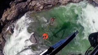 Helicopter plucks teen stuck on rock in California river