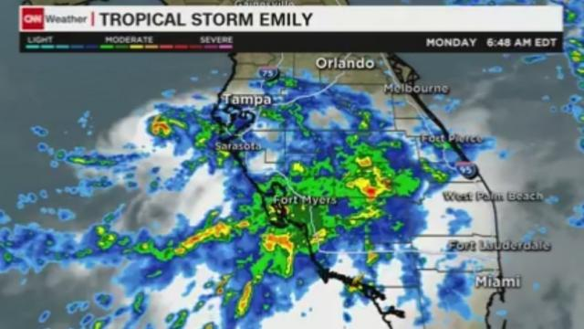 Tropical storm Emily, forming near Tampa, Florida, is threatening heavy rain, strong winds and possible flash flooding.