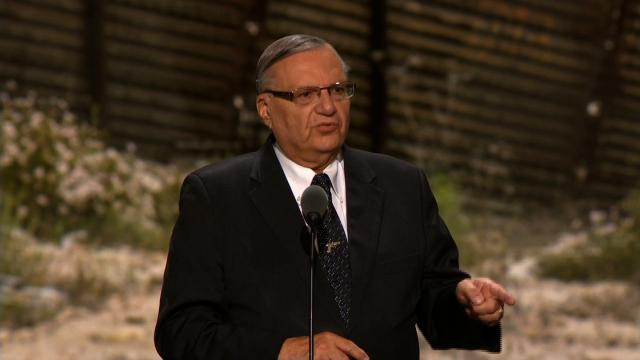 Former Maricopa County, Arizona, Sheriff Joe Arpaio has been found guilty of criminal contempt, court records show. Arpaio is seen here speaking at the Republican National Convention in Cleveland, Ohio on July 21, 2016. (File Photo)