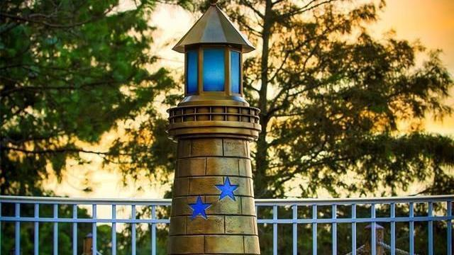Disney erects sculpture for foundation memorializing boy killed at Orlando resort. The Nebraska boy, who was killed by an alligator while playing near the shoreline of the Seven Seas Lagoon at a Walt Disney World hotel, is now memorialized with a lighthouse sculpture near the site of the attack. The lighthouse is a symbol o the Omaha-based Lane Thomas Foundation, a nonprofit the boy's family established.