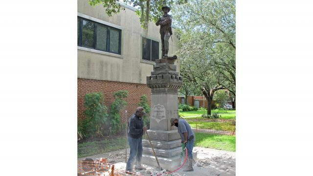 """A Confederate statue called """"Old Joe"""" was removed in Gainesville, Florida, on Monday, August 14, 2017. """"This image is for use with this specific article only."""""""