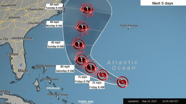 With maximum sustained winds of 70 mph, Jose was downgraded from a hurricane to a tropical storm in the hurricane center's 11 a.m. ET advisory. The storm is expected to restrengthen and become a hurricane again by this weekend, the center said.