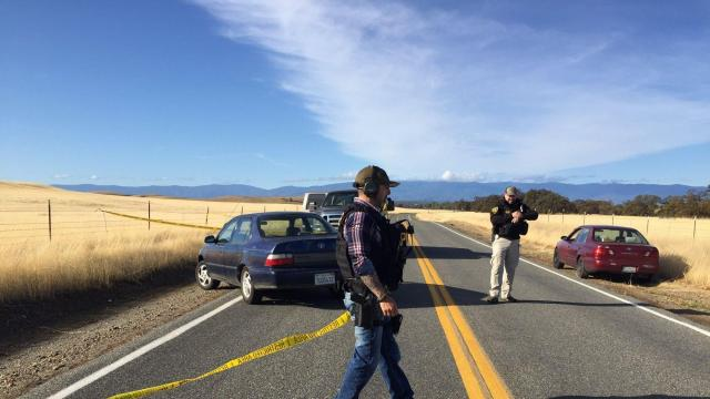 **Embargo: Chico-Redding, CA** In a briefing on scene Tuesday, November 14, 2017, a Tehama County Sheriff spokesman said there are at least three people are dead and there are at least five crime scenes including Tehama Elementary School. The shooter was shot and killed by police.