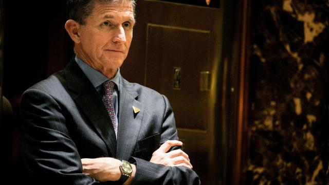 FILE — Retired Lt. Gen. Michael Flynn, then President-elect Donald Trump's choice for National Security Adviser, in the lobby of Trump Tower in New York on Dec. 12, 2016. Flynn is expected to plead guilty on Dec. 1, 2017, to lying to the FBI about a conversation with the Russian ambassador in December 2016.  (Sam Hodgson/The New York Times)