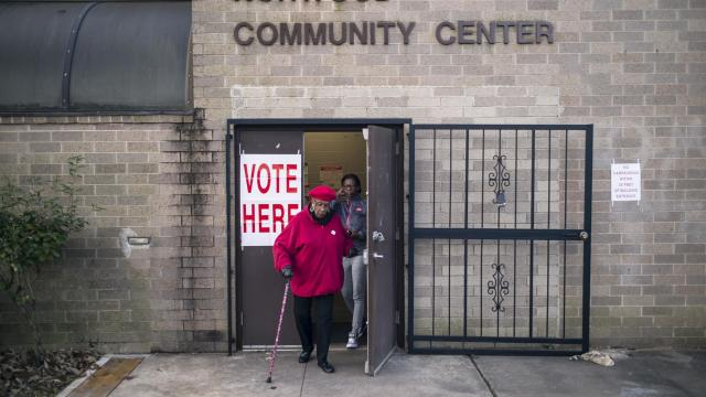 Voters exits a polling station at the Norwood Community Center in Birmingham, Ala., Dec. 12, 2017. Voters were headed to the polls Tuesday to decide between Roy Moore, a Republican, and Doug Jones, a Democrat, in a strange and ugly special Senate election. (Bob Miller/The New York Times)