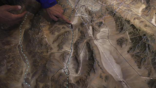 A lighted relief map at the Ash Meadows National Wildlife Refuge shows the path of the Amargosa River, in Amargosa Valley, Nev., Dec. 4, 2017. The Amargosa River system, in southern Nevada and eastern California, flows through the Mojave Desert, giving life to plants and animals found nowhere else in the world. (Rick Loomis/The New York Times).