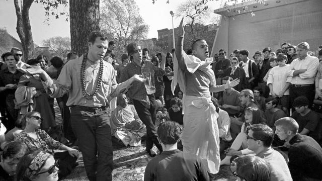 FILE -- An early Hare Krishna session in Tompkins Square Park in New York, Jan. 9, 1966. Prompted by a possible sale of New York's main Hare Krishna temple for close to $60 million to a developer in 2017, a power struggle has pitted the temple president and his board of trustees against the leaders of the International Society of Krishna Consciousness. (Allyn Baum/The New York Times)