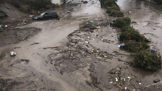 In a Santa Barbara County Fire Department photo, mud and debris fill the Olive Mill Road underpass on U.S. 101 from flooding on Montecito Creek in Montecito, Calif., Jan. 9, 2018. Drenching rain sent mud roaring down the hillsides of Santa Barbara County on Tuesday, killing at least five people, carrying houses off their foundations, snapping telephone poles and wrapping vehicles around trees, the authorities said. (Mike Eliason/Santa Barbara County Fire Department via The New York Times) — FOR EDITORIAL USE ONLY