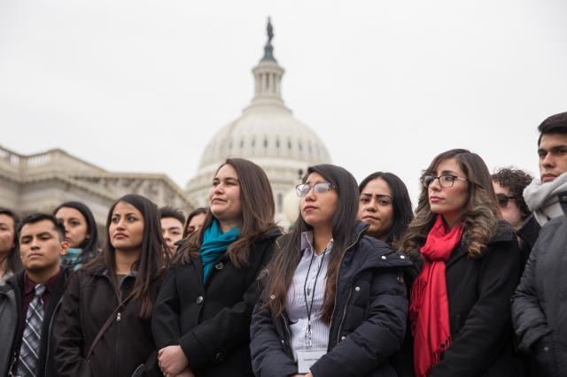"""FILE — A group of young undocumented immigrants known as Dreamers at a rally outside the U.S. Capitol in Washington, Jan. 10, 2018. Some Republican claims about the Deferred Action for Childhood Arrivals policy exacerbating """"chain migration"""" have been overstated. (Erin Schaff/The New York Times)"""