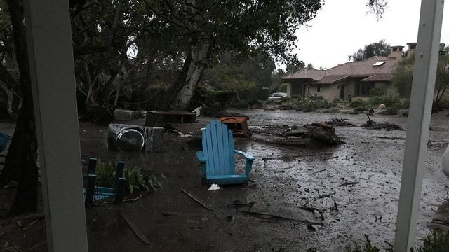 Heavy rains were triggering dangerous flooding Tuesday, January 9, 2017, morning in Southern California, with rivers of mud and debris destroying at least three homes and pooling water forcing police to close parts of the coastal US Route 101, officials said.