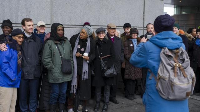 Supporters of Deborah Danner, who was killed by a New York Police Department sergeant, at his trial on murder and manslaughter charges in the Bronx, Jan. 30, 2018. Prosecutors said that Sgt. Hugh Barry ignored his training and provoked the confrontation in which he killed Danner, a mentally ill 66-year-old woman who was wielding a baseball bat. (Gregg Vigliotti/The New York Times)