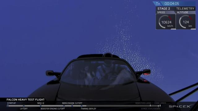 In a still image from a video feed provided by SpaceX, the Tesla Roadster above the Earth 4 minutes after launch of the Falcon Heavy rocket on Tuesday, Feb. 6, 2018. Elon Musk's company launched the world's most powerful rocket, with a Tesla sports car as payload, into space. (SpaceX via The New York Times) -- NO SALES; FOR EDITORIAL USE ONLY WITH NYT STORE SLUGGED SPACEX LAUNCH BY KENNETH CHANG. ALL OTHER USE PROHIBITED. --