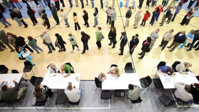 Voters wait in line at the Bobby Miller Activity Center on Nov. 6, 2012 in Tuscaloosa, Ala.