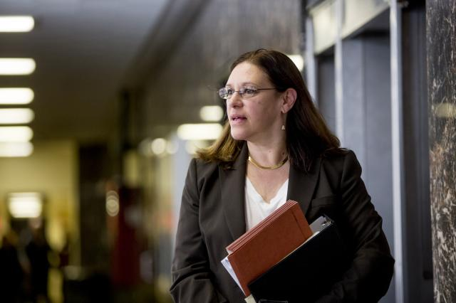 FILE — Assistant District Attorney Joan Illuzzi walks the halls of the New York State Supreme Court during the retrial of Pedro Hernandez for the 1979 murder of Etan Patz, in New York, Dec. 12, 2016. Illuzzi, who is known for winning a murder conviction in the killing of Etan Patz, has been put in charge of the Manhattan district attorney's investigation into rape allegations against the movie mogul Harvey Weinstein, people with knowledge of the investigation said. (Anthony Lanzilote/The New York Times)