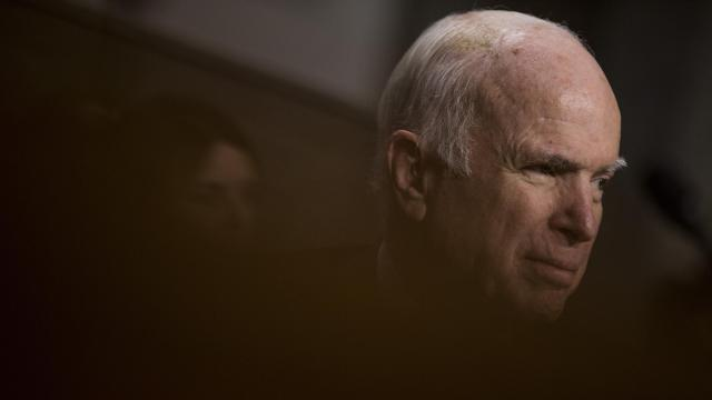 """FILE -- Sen. John McCain (R-Ariz.) during a Senate Armed Services committee hearing on Capitol Hill in Washington, Nov. 30, 2017. As he battles brain cancer, McCain is sharing memories and regrets with friends like former Vice President Joe Biden, whom he urged to """"not walk away"""" from politics. (Zach Gibson/The New York Times)"""