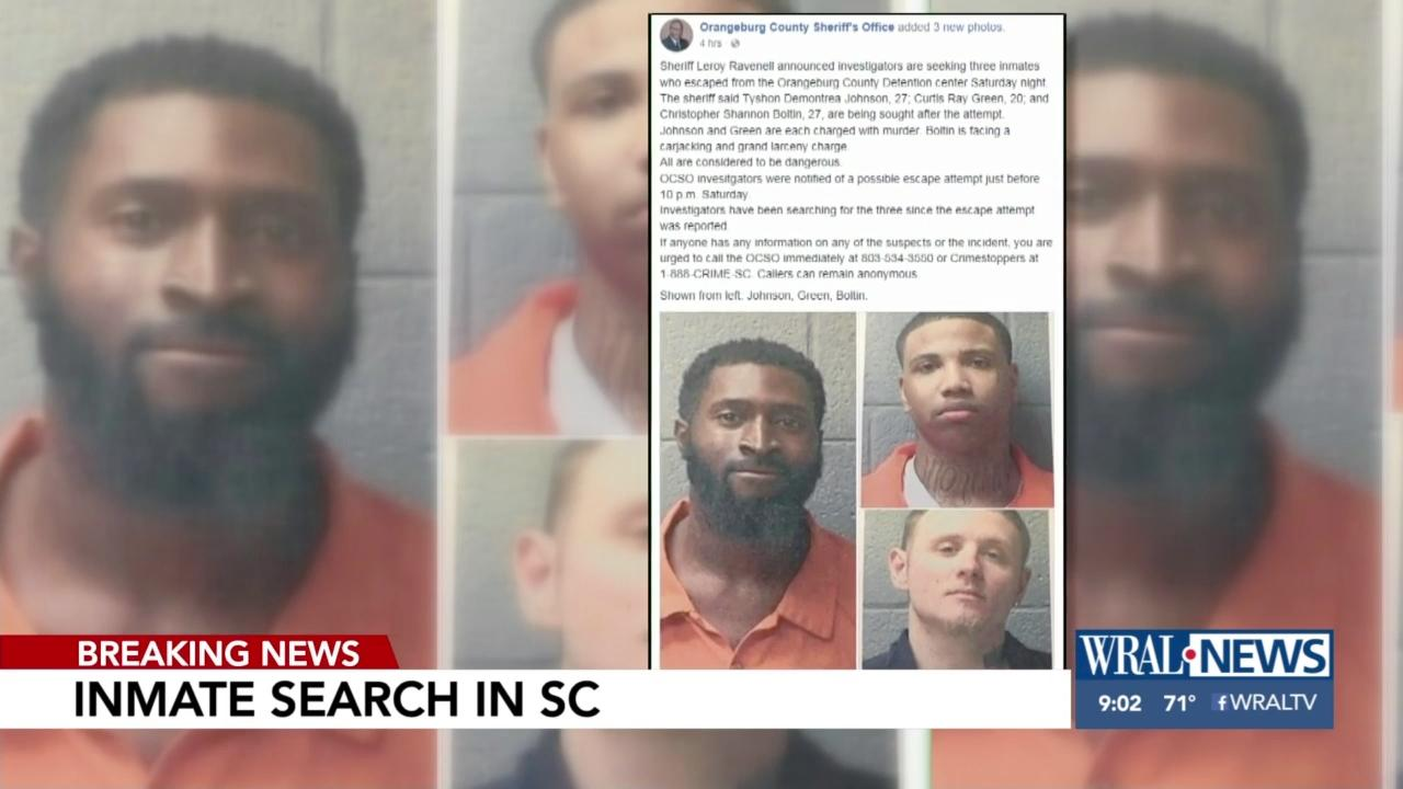 Deputies capture 1 of 3 inmates who escaped from SC prison