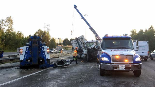 Chicken feathers cover Seattle interstate after driver falls asleep, crashes semi class=