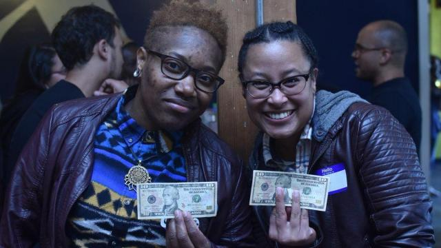 """Adia Gibbs, left, and Tina Valeria at """"Reparations Happy Hour,"""" which was held in Portland, Ore., this week. (Photo credit: Cameron Whitten)"""