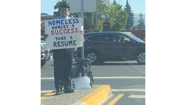 After standing on a street corner and asking strangers for employment, one homeless man in Silicon Valley has been overwhelmed by job offers.