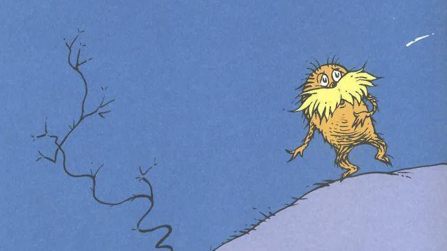 A photo provided by Dr. Seuss Enterprises of the Lorax. In a new essay, the authors argue that the Lorax may have been involved in a type of symbiotic relationship with the Truffula trees and his surroundings, threatened and defensive. (Dr. Seuss Enterprises via The New York Times) -- NO SALES; FOR EDITORIAL USE ONLY WITH NYT STORY SCI SEUSS LORAX BY JOANNA KLEIN FOR AUG. 7, 2018. ALL OTHER USE PROHIBITED.