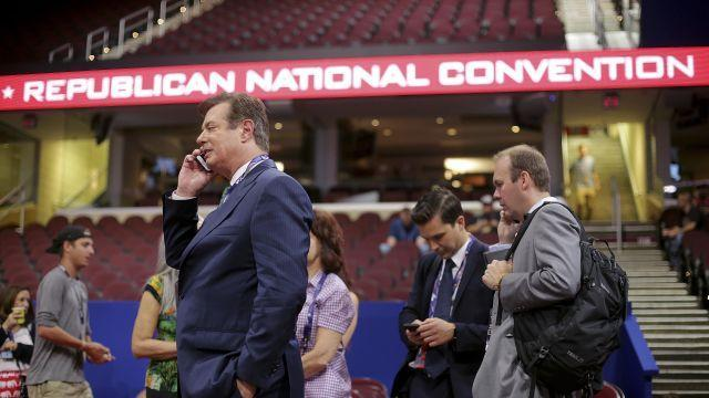 FILE -- Paul Manafort, then Donald Trump's campaign manager, with Rick Gates, right, at the Republican National Convention in Cleveland, July 17, 2016. On Aug. 6, 2018, Gates confronted Manafort across a federal courtroom, where he was testifying as the prosecution's star witness in Manafort's trial on tax and bank fraud charges stemming from his work for Russia-aligned politicians in Ukraine. (Sam Hodgson/The New York Times)
