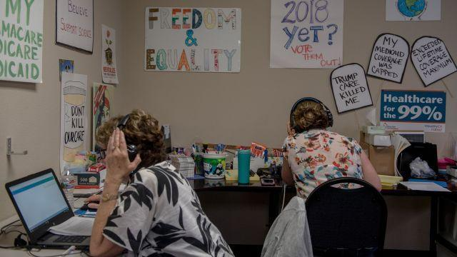 FILE -- Jackie Peregoy, left, and her daughter Janelle make calls at the office of Flip the 49th the day before California's primary election, in Carlsbad, Calif., June 4, 2018. The energy in the midterms is working against female Republican candidates who are reluctant or unable to claim any advantage to being a woman among voters. (Hilary Swift/The New York Times)