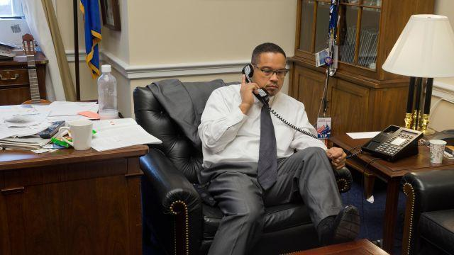 FILE -- Rep. Keith Ellison (D-Minn.), during a conference call in his office, in Washington, Dec. 10, 2015. Ellison has denied allegations that he had emotionally and physically abused a former girlfriend, Karen Monahan. (Stephen Crowley/The New York Times)