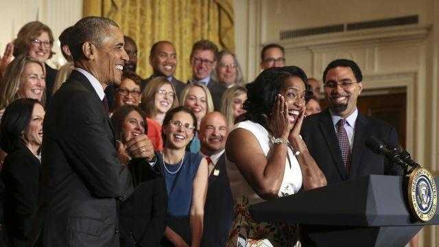 FILE-- Jahana Hayes, the 2016 National Teacher of the Year, reacts at a ceremony with President Barack Obama honoring her and finalists for the award in the East Room of the White House in Washington, May 3, 2016. In August 2018, Hayes, 45, is the newly minted Democratic nominee from Connecticut's Fifth Congressional District, defeating a more seasoned opponent who had the party's backing. If she defeats the Republican candidate, Manny Santos in November's general election, she will become the state's first black Democrat to serve in Congress. (Doug Mills/The New York Times)