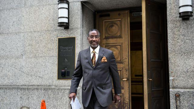 FILE -- Norman Seabrook, former president of the New York City correction officers' union, leaves Thurgood Marshall Courthouse, in New York, Nov. 13, 2017. Seabrook was convicted of bribery on Aug. 15, 2018. The jury was deadlocked on a second count of conspiracy. (Holly Pickett/The New York Times)