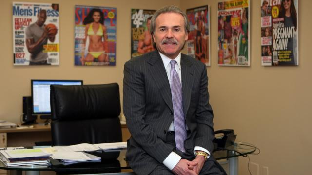 FILE -- David Pecker, chairman of American Media Inc. and publisher of The National Enquirer, poses for a photo at his office in New York on Feb. 25, 2010. Pecker has been granted immunity by federal prosecutors investigating payments during the 2016 campaign to two women who said they had affairs with Donald Trump, a person familiar with the investigation confirmed on Thursday, Aug. 23, 2018. (Hiroko Masuike/The New York Times)