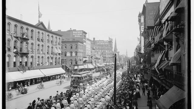 A photo provided by the Library of Congress of a Labor Day parade on Main Street in Buffalo, N.Y., in 1900. President Grover Cleveland made it a national holiday in 1894, during a crisis over federal efforts to end a strike by railroad workers. (Library of Congress via The New York Times) -- FOR EDITORIAL USE ONLY --