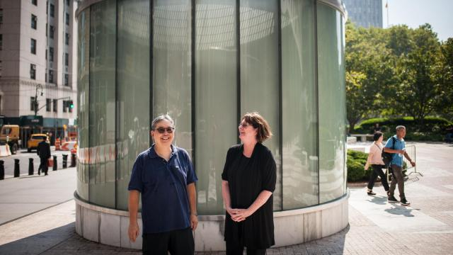George Chew, left, and Peggy McManus, who are part of an unusually large group of New York immigration judges who have retired over the 15 months, outside 26 Federal Plaza in New York, Sept. 6, 2018. The Trump administration has instituted policies it says will speed up backlogged immigration cases, but critics see them as an attempt to control how judges rule. (Kholood Eid/The New York Times)