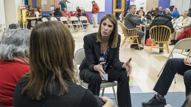 FILE -- Lori Trahan, center, speaks during a forum at Carlisle Public School in Carlisle, Mass., April 5, 2018. After a recount, Trahan won a 10-person primary with less than 21 percent of the vote, far from a majority, which some say is undemocratic. (M. Scott Brauer/The New York Times)