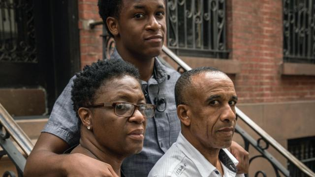Botham Shem Jean's parents, Allison and Bertrum, and brother, Brandt, in New York, Sept. 20, 2018. Botham Shem Jean was fatally shot by a Dallas police officer who says she mistook him for a burglar in his own home. (Benjamin Norman/The New York Times)