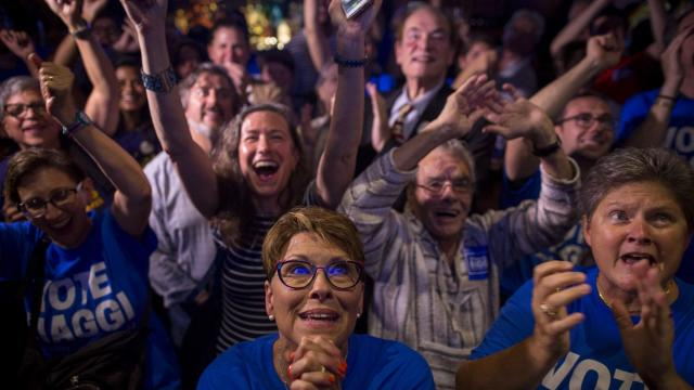FILE -- Supporters of Alessandra Biaggi, a Democratic New York State Senate candidate, at her primary night party in the Bronx, Sept. 13, 2018. As the results from last week's Democratic primary settled, the challengers who successfully toppled seven incumbents immediately took on a new mantle as the new, pulsing nucleus of hopes for progressive change. (Dave Sanders/The New York Times)