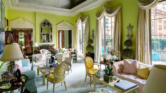 FILE \u2014 A space designed by Mario Buatta at the home of Hilary and Wilbur Ross & Mario Buatta Interior Designer and \u0027Prince of Chintz\u0027 Dies at 82 ...