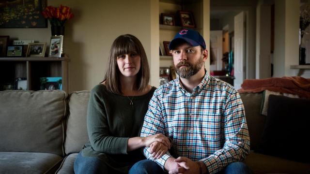 Rachel Peterson and her husband, Robby, at home in Ionia, Mich., Oct. 18, 2018. Peterson she was denied a medication for her miscarriage by a pharmacist at a supermarket who refused to fill the prescription because of his religious beliefs, then declined to help her obtain the drug elsewhere. (Emily Rose Bennett/The New York Times)