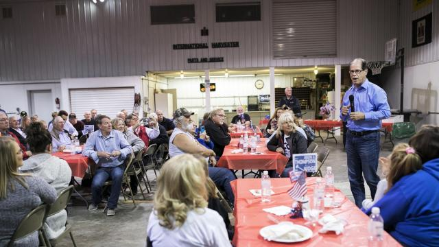 Mike Braun, Republican candidate for Senator in Indiana, speaks at an event in Monticello, Ind., Oct. 18, 2018. Braun's opponent, Sen. Joe Donnelly (D-Ind.), is testing whether a Democrat can win re-election in a Trump state while running on bipartisanship and moderation. (Maddie McGarvey/The New York Times)