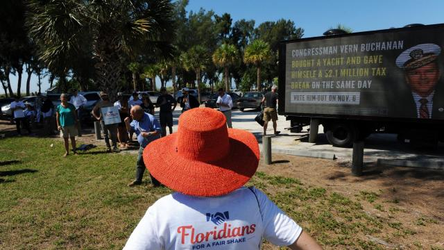 Floridians for a Fair Shake hosts a voter rally critical of Rep. Vern Buchanan (R-Fla.) in Bradenton, Fla., Oct. 14, 2018. The advocacy group is part of the Hub Project, a Democratic organization on track to spend nearly $30 million pressuring members of Congress in their districts. (Sarah Beth Glicksteen/The New York Times)