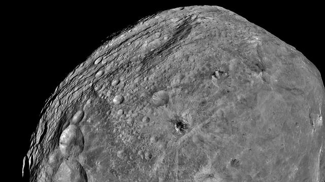A photo provided by JPL/NASA of Vesta taken by the Dawn spacecraft in 2011. NASA's Dawn spacecraft, which was launched in 2007 to send home close-up views of Ceres and Vesta, has died quietly, the space agency announced on Nov. 1, 2018. (JPL/NASA via The New York Times) -- FOR EDITORIAL USE ONLY --
