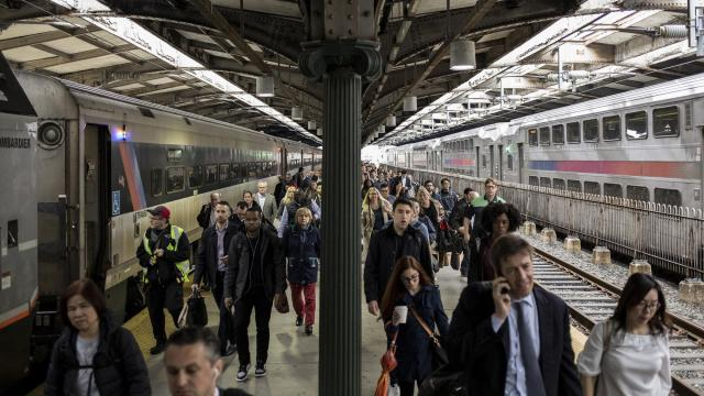 Commuters exit New Jersey Transit trains after an Amtrak car derailed in one of the two single-track tunnels under the Hudson River, causing delays for thousands of commuters, in Hoboken, N.J., Nov. 2, 2018. The delays capped a week of problems that symbolized the railway's descent from one of the nation's best commuter systems to one of its most troubled. (Bryan Anselm/The New York Times)