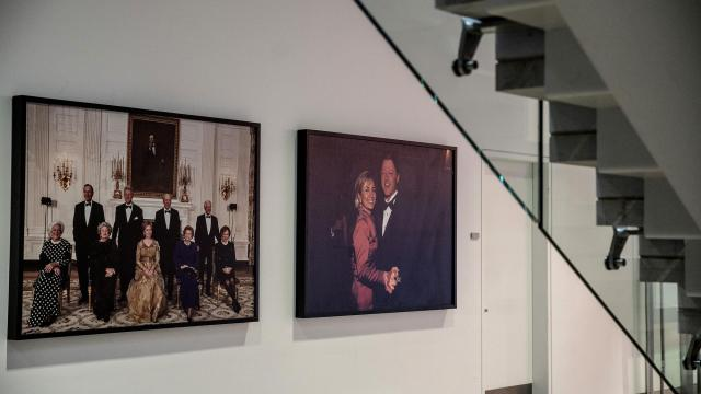 Photographs of Bill and Hillary Clinton on display at the Clinton Presidential Library in Little Rock, Ark., Oct. 19, 2018. In an election shaped by the #MeToo movement, female voters and female candidates, Clinton finds his legacy tarnished by past allegations of sexual assault and misconduct. (Andrea Morales/The New York Times)