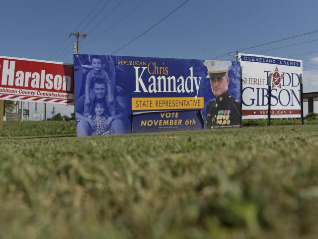 A campaign sign for Oklahoma state Rep. Chris Kannady, a moderate Republican seeking re-election, in Oklahoma City, Oct. 15, 2018. Kannady has gone public as the ringleader of an internal Republican Party purge of hard-line G.O.P. candidates in Oklahoma, where purges and feuds have shown the pitfalls of one-party rule. (Nick Oxford/The New York Times)
