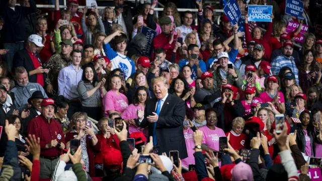 FILE — President Donald Trump holds a rally at the Bojangles' Coliseum in Charlotte, N.C., Oct. 26, 2018. The midterm campaign barreled through its final weekend with Republicans bracing for losses in the House and state capitals but hopeful they would prevail in Senate races in areas where Trump remains popular. (Doug Mills/The New York Times)