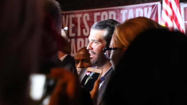 Donald Trump Jr. greets supporters after speaking at a rally in support of Danny Tarkanian, a Republican candidate for Nevada's 3rd Congressional District, at Stoney's Rockin' Country in Las Vegas, Nov. 2, 2018. President Donald Trump's eldest son has been an active campaigner for Republicans this year. He has also not ruled out a campaign of his own. (Jim Wilson/The New York Times)