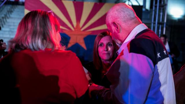 Rep. Martha McSally, a Republican candidate for Senate, greets supporters during a rally in Prescott, Ariz., Nov. 5, 2018. As of Wednesday morning, the Senate race in Arizona has yet to be called. Kyrsten Sinema, a former Green Party activist who reinvented herself as a centrist Democrat, was trailing McSally by 15,908 votes. (Ilana Panich-Linsman/The New York Times)
